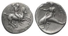 Ancient Coins - CALABRIA, Tarentum. Circa 280-272 BC. AR Nomos RARE