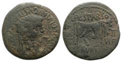 Ancient Coins - Tiberius (14-37). Spain, Calagurris. Æ As. L. Ful. Sparsus and L. Saturninus, duoviri. R/ BULL