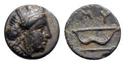 Ancient Coins - Ionia, Myos, c. 3rd century BC. Æ - Female head / Bow and arrow