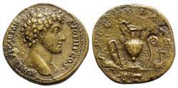 Ancient Coins - Marcus Aurelius (Caesar, 139-161). Æ Sestertius - R/ Knife, sprinkler, ewer, lituus, and simpulum