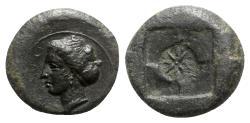 Ancient Coins - Sicily, Syracuse, 405-375 BC. Æ Hemilitron - Nymph head / Star