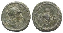Ancient Coins - Anonymous, time of Domitian to Antoninus Pius, 81-161. Æ Quadrans. Rome. Helmeted bust of Minerva r. R/ Owl