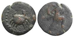 Ancient Coins - Islands of Sicily, Uncertain (Lopadusa), 2nd century BC. Æ 16mm. Crab. R/ Warrior