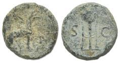 Ancient Coins - Anonymous, time of Domitian to Antoninus Pius. Æ Quadrans. Griffin R/ Tripod