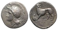 Ancient Coins - ITALY. Northern Lucania, Velia, c. 334-300 BC. AR Didrachm. Kleudoros group.  R/ Lion