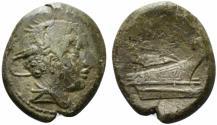 Ancient Coins - ROME REPUBLIC Anonymous, Rome, 217-215 BC. Æ Semuncia. Head of Mercury R/ Prow