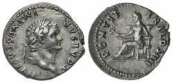 Ancient Coins - Titus (Caesar, 69-79). AR Denarius. Rome, AD 75.  R/ PAX