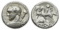 Ancient Coins - ROME REPUBLIC Ti. Quinctius (?), AR Denarius, Rome, 112 or 111 BC.