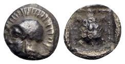 Ancient Coins - Lesbos, Methymna, c. 500/480-460 BC. AR Hemiobol - Athena / Tortoise