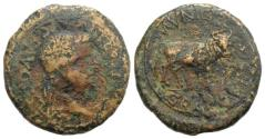 Ancient Coins - Tiberius (14-37). Spain, Graccuris. Æ As. R/ BULL