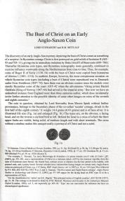 Ancient Coins - Stewartby L. and Metcalf D. M., The Bust of Christ on an Early Anglo-Saxon Coin. Offprint from