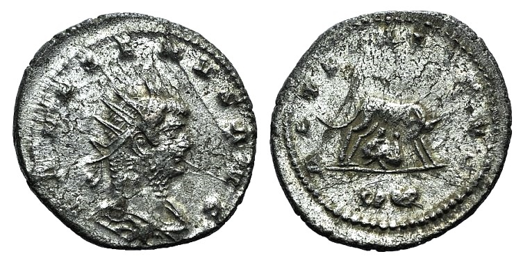 Ancient Coins - Gallienus. AD 253-268. Antoninianus R/ She-wolf and twins Remus and Romulus EXTREMELY FINE