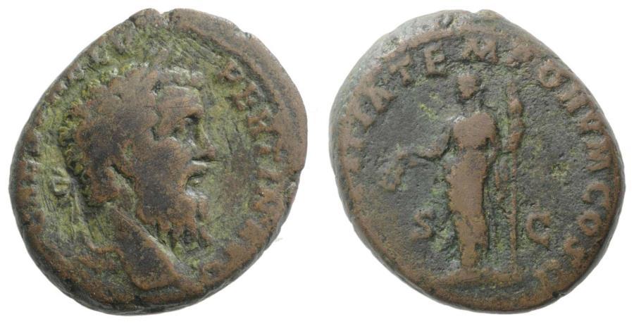 Ancient Coins - Pertinax (AD 193). Æ As R/ Laetitia  RARE