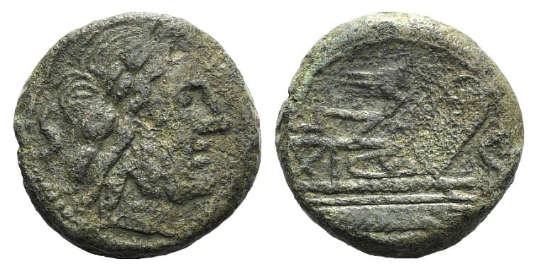 Ancient Coins - Rome Republic Rostrum tridens series, c. 206-195 BC. AE Semis