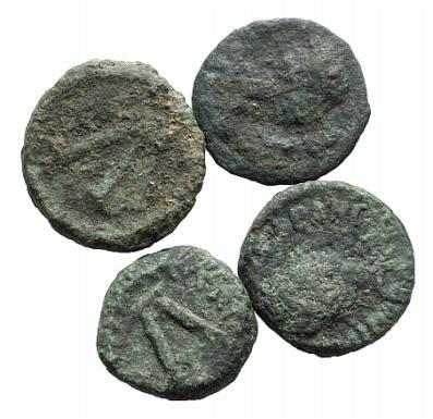 Ancient Coins - Justinian I (527-565). Lot of five Æ 5 Nummi (10-12mm). Imitative (Sicilian?) mint