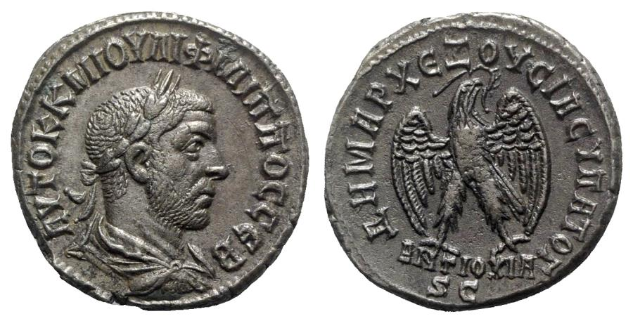 Ancient Coins - Philip I (244-249). Seleucis and Pieria, Antioch. BI Tetradrachm