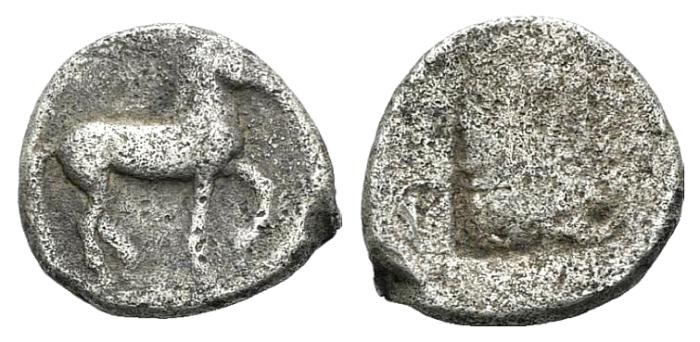 Ancient Coins - Macedon (Macedonia), Kings of Macedon, Alexander I (498-454). AR Diobol RARE