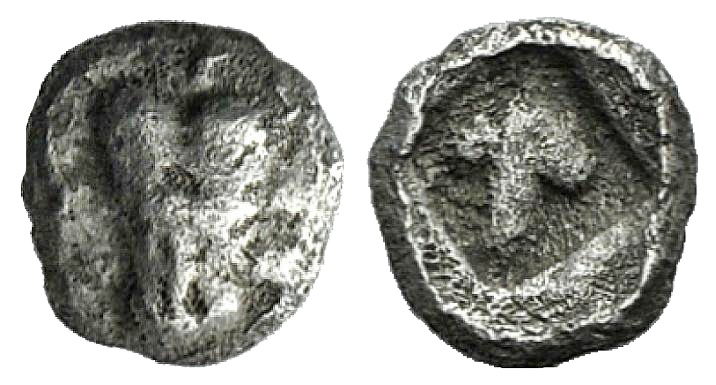 Ancient Coins - Thraco-Macedonian Region, Uncertain, 5th century BC. AR Hemiobol