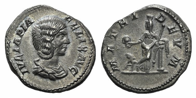 Ancient Coins - Julia Domna (Augusta, 193-217). AR Denarius. Rome, 211-215.  R/ Cybele