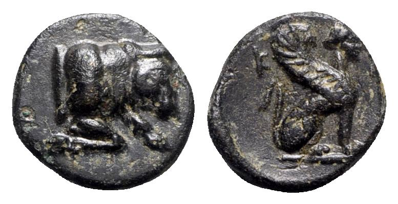 Ancient Coins - Caria, Kaunos, c. 350-300 BC. Æ - Forepart of bull / Sphinx