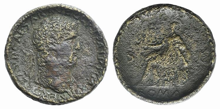 Ancient Coins - Nero (54-68). AE Proto Contorniate Sestertius. Rome, c. 65.