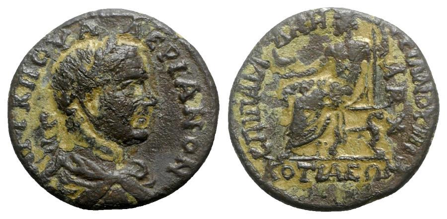 Ancient Coins - Valerian I (253-260). Phrygia, Cotiaeum. Æ - P. Aelius Demetrius, archon - R/ Zeus