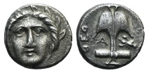 Ancient Coins - Thrace, Apollonia Pontika, mid-late 4th century BC. AR Diobol. Theo-, magistrate.