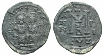Ancient Coins - JUSTIN II. 565-578 AD. Æ Follis. Cyzicus mint. Dated year 5 (567/8 AD)