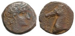Ancient Coins - Carthage, c. 221-218 BC. Æ Fifth Unit. Carthago Nova. Head of Tanit  R/ Horse head