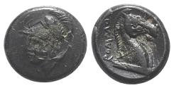 Ancient Coins - ROME REPUBLIC Anonymous, Rome, c. 260 BC. Æ 18mm. R/ Head of bridled horse
