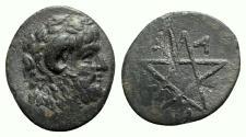 Ancient Coins - Mysia, Pitane, 4th-3rd centuries BC. Æ - Zeus / Pentagram