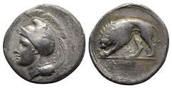 Ancient Coins - ITALY. Northern Lucania, Velia, c. 334-300 BC. AR Didrachm  R/ Lion
