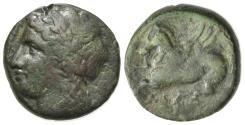 Ancient Coins - Sicily, Syracuse, 344-317 BC. Æ 17mm. R/ Pegasos