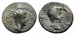 Ancient Coins - Kings of Thrace, Rhoemetalkes I and Augustus (11 BC-12 AD). Æ 19mm. Head of Rhoemetalkes  R/ Head of Augustus