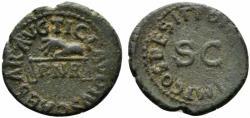 Ancient Coins - Claudius (41-54). Æ Quadrans. Rome, AD 42. Hand l., holding scales; PNR below. R/ Large S • C