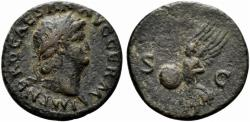 Ancient Coins - Nero (54-68). Æ As. Rome, c. AD 66. R/ Victory flying
