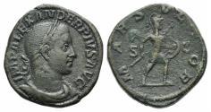 Ancient Coins - Severus Alexander. 222-235 AD. Æ Sestertius. Struck 231-235 AD. R/ MARS