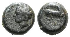 Ancient Coins - Sicily, Carthaginian Domain, c. 375-350 BC. Æ 9mm Head of Tanit l. R/ Horse