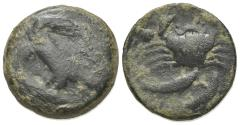 Ancient Coins - Sicily, Akragas, c. 420-406 BC. Æ Hexas. Eagle  R/ Crab