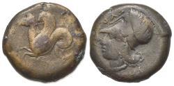 Ancient Coins - Sicily, Syracuse, c. 375-344 BC. Æ 20mm. R/ Hippocamp