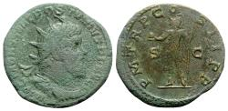 Ancient Coins - Postumus (260-269). Æ Double Sestertius - R/ Emperor with globe and spear
