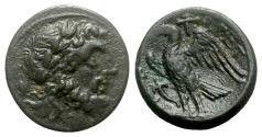 Ancient Coins - Bruttium, The Brettii, c. 214-211 BC. Æ Unit - Zeus / Eagle