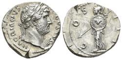 Ancient Coins - Hadrian, 117-138 AR Denarius circa 125-128 R/ MINERVA EXTREMELY FINE