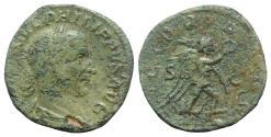 Ancient Coins - Philip I (244-249). Æ Sestertius - Rome - R/ Victory