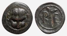 Ancient Coins - Bruttium, Rhegion, c. 450-425 BC. Æ Onkia