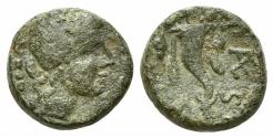 Ancient Coins - ITALY. Lucania, Paestum (Poseidonia) Æ Triens. Second Punic War issue, 218-201 BC. R/ Cornucopiae
