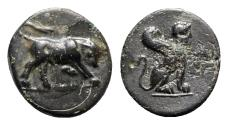 Ancient Coins - Caria, Kaunos, c. 350-300 BC. Æ - Bull / Sphinx