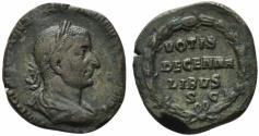 Ancient Coins - Trebonianus Gallus (251-253). Æ Sestertius. Rome, AD 251.  R/ VOTIS/ DECENNA/LIBVS/ S C