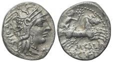 Ancient Coins - ROME REPUBLIC M. Calidius, Q. Metellus, and Cn. Fulvius, Rome, 117-116 BC. AR Denarius. R/ Victory driving biga
