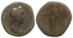 Ancient Coins - Sabina (Augusta, 128-136/7). Æ Sestertius - Rome - R/ Concordia